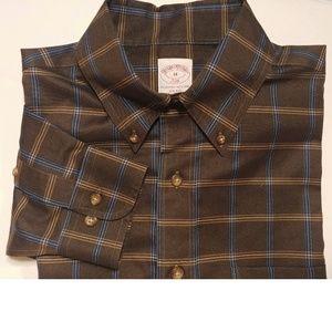 Brooks Brothers 346 Brown Plaid Shirts Sz Lg